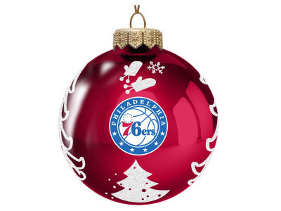 "Philadelphia 76ers Memory Company 3"" Glass Christmas Tree Ornament"