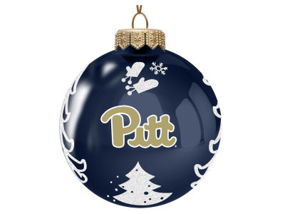 "Pittsburgh Panthers 3"" Glass Christmas Tree Ornament"