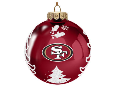"San Francisco 49ers Memory Company 3"" Glass Christmas Tree Ornament"