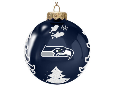 "Seattle Seahawks Memory Company 3"" Glass Christmas Tree Ornament"
