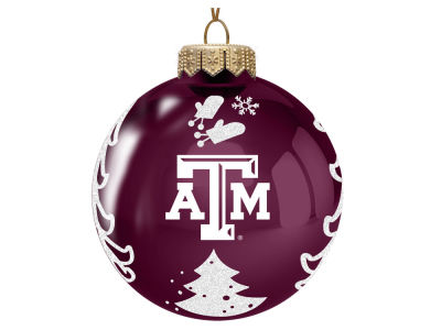 "Texas A&M Aggies 3"" Glass Christmas Tree Ornament"
