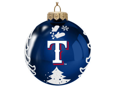 "Texas Rangers Memory Company 3"" Glass Christmas Tree Ornament"