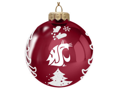 "Washington State Cougars 3"" Glass Christmas Tree Ornament"