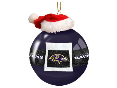 "Baltimore Ravens 3"" Glass Santa Belt Ornament"