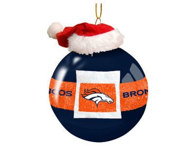 "Denver Broncos 3"" Glass Santa Belt Ornament"
