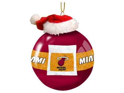 "Miami Heat Memory Company 3"" Glass Santa Belt Ornament"