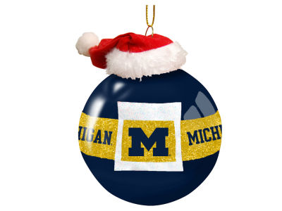 "Michigan Wolverines Memory Company 3"" Glass Santa Belt Ornament"
