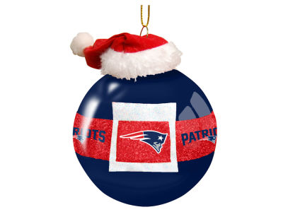 "New England Patriots 3"" Glass Santa Belt Ornament"