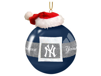 "New York Yankees 3"" Glass Santa Belt Ornament"