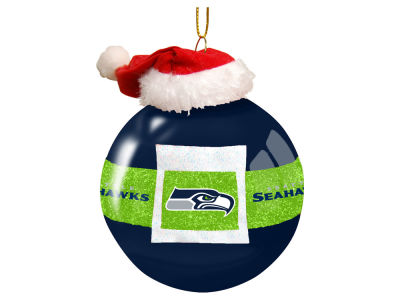 "Seattle Seahawks Memory Company 3"" Glass Santa Belt Ornament"