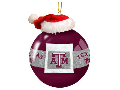 "Texas A&M Aggies 3"" Glass Santa Belt Ornament"