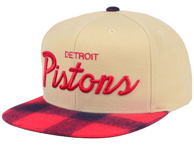 Detroit Pistons Mitchell & Ness NBA 2 Plaid Snapback Cap