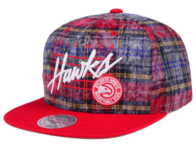 Atlanta Hawks Mitchell & Ness NBA Bleach Cursive Plaid Snapback Cap