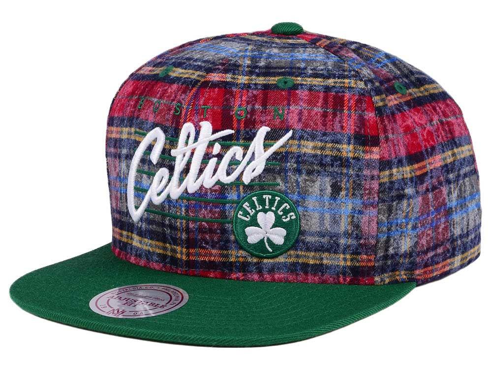 innovative design 0ebdf 64e80 ... low cost boston celtics mitchell ness nba bleach cursive plaid snapback  cap 600de 40d2d