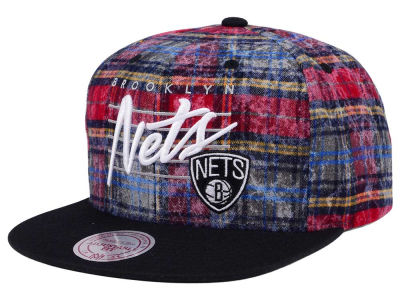 Brooklyn Nets Mitchell & Ness NBA Bleach Cursive Plaid Snapback Cap