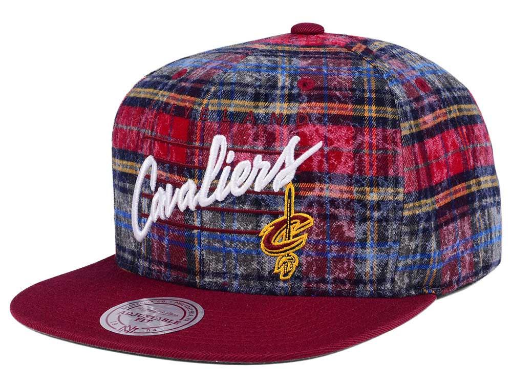 4c43a165cc6 Cleveland Cavaliers Mitchell   Ness NBA Bleach Cursive Plaid Snapback Cap