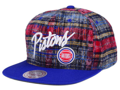 Detroit Pistons Mitchell & Ness NBA Bleach Cursive Plaid Snapback Cap