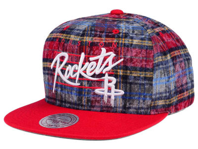 Houston Rockets Mitchell & Ness NBA Bleach Cursive Plaid Snapback Cap