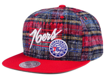 Philadelphia 76ers Mitchell & Ness NBA Bleach Cursive Plaid Snapback Cap