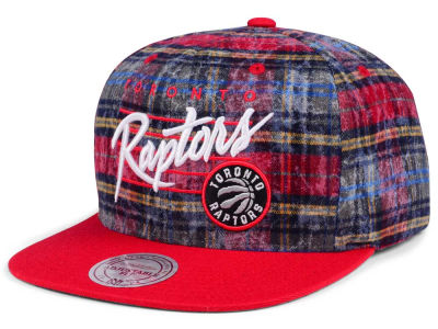 Toronto Raptors Mitchell & Ness NBA Bleach Cursive Plaid Snapback Cap