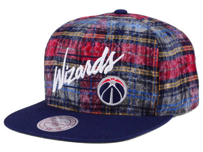 Washington Wizards Mitchell & Ness NBA Bleach Cursive Plaid Snapback Cap