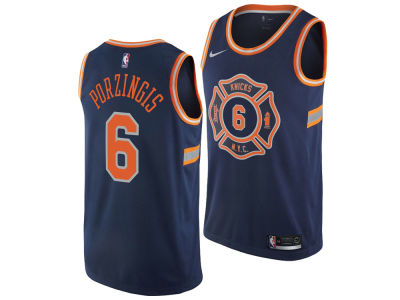 New York Knicks Kristaps Porzingis Nike NBA Men's 2017 City Swingman Jersey