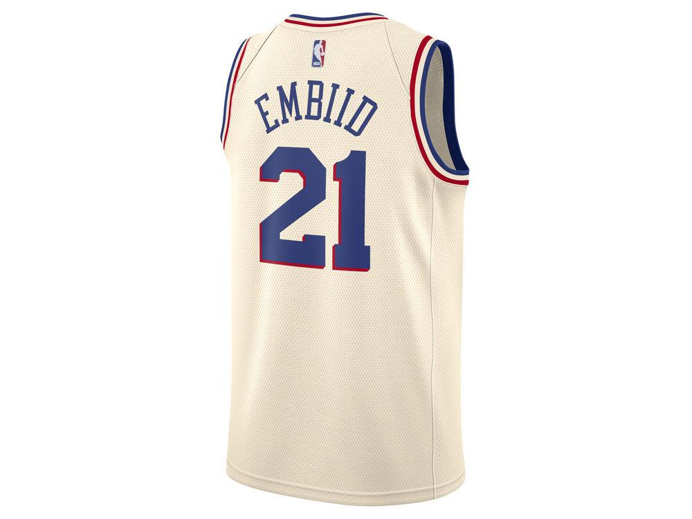 cb709ebe73d Philadelphia 76ers Joel Embiid Nike NBA Men s 2017 City Swingman Jersey