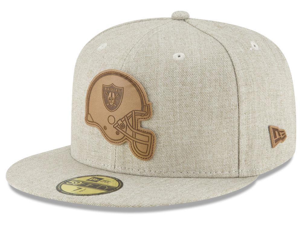 d44ad74ff28 Oakland Raiders New Era NFL Heathered Helmet 59FIFTY Cap