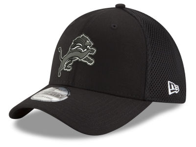 Detroit Lions New Era NFL Black & White Neo 39THIRTY Cap