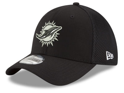 Miami Dolphins New Era NFL Black & White Neo 39THIRTY Cap