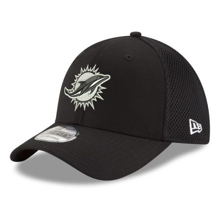Miami Dolphins New Era NFL Black & White Neo 39THIRTY Cap