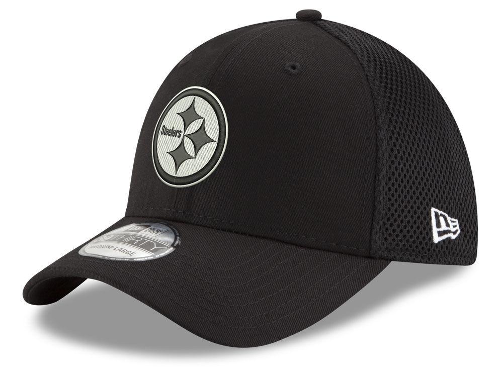 0826c9dce Pittsburgh Steelers New Era NFL Black   White Neo 39THIRTY Cap ...