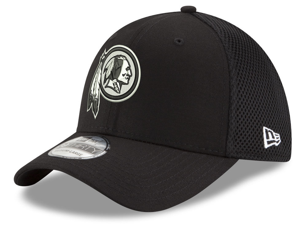 Washington Redskins New Era NFL Black   White Neo 39THIRTY Cap ... cfcfe261658