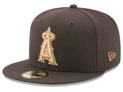 Los Angeles Angels New Era MLB Brown on Metallic 59FIFTY Cap