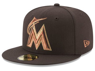 Miami Marlins New Era MLB Brown on Metallic 59FIFTY Cap