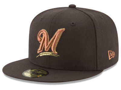 Milwaukee Brewers New Era MLB Brown on Metallic 59FIFTY Cap