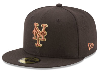 New York Mets New Era MLB Brown on Metallic 59FIFTY Cap