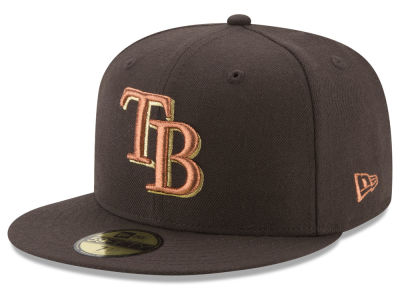 Tampa Bay Rays New Era MLB Brown on Metallic 59FIFTY Cap