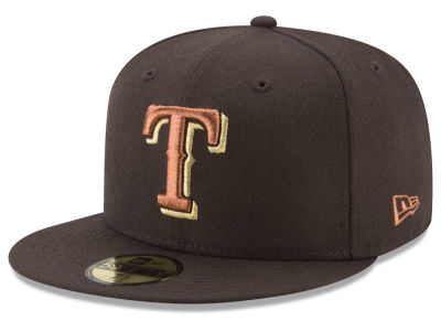 Texas Rangers New Era MLB Brown on Metallic 59FIFTY Cap