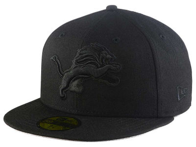 Detroit Lions New Era NFL Black On Black 59FIFTY Cap