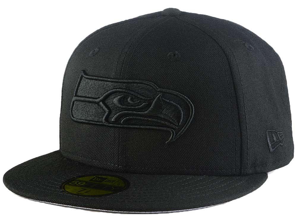 242c6b3419d Seattle Seahawks New Era NFL Black On Black 59FIFTY Cap