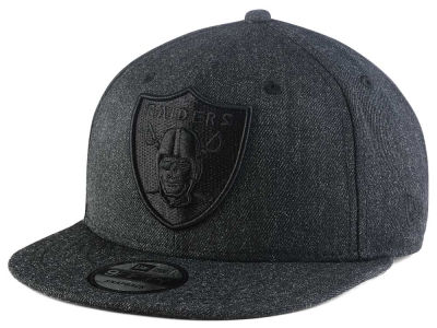 Oakland Raiders New Era NFL Heather Black On Black 9FIFTY Snapback Cap
