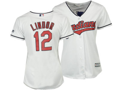 Cleveland Indians Francisco Lindor Majestic MLB Women's Cool Base Player Replica Jersey