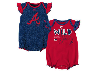 Atlanta Braves Outerstuff MLB Newborn Girls Team Sparkle Creeper Set