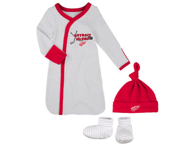 Detroit Red Wings NHL Newborn Kicker Gown, Hat & Bootie Set