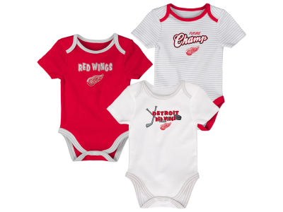 Detroit Red Wings Outerstuff NHL Newborn 3rd Down 3pc Creeper Set