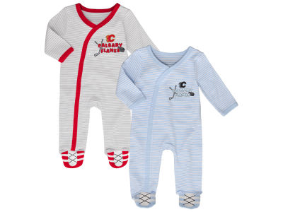 Calgary Flames NHL Newborn Sunday Best 2pc Coverall Set