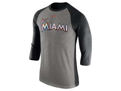 Miami Marlins Nike MLB Men's Tri-Blend 3/4 Raglan T-shirt