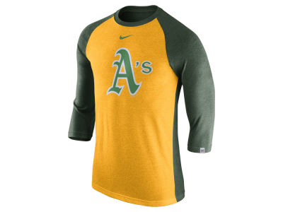 Oakland Athletics Nike MLB Men's Tri-Blend 3/4 Raglan T-shirt