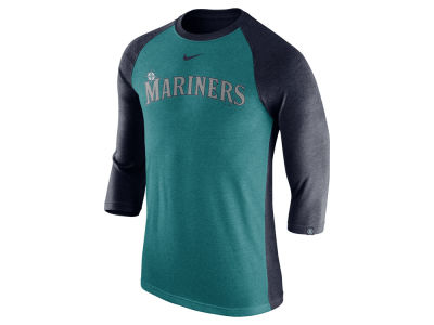 Seattle Mariners Nike MLB Men's Tri-Blend 3/4 Raglan T-shirt